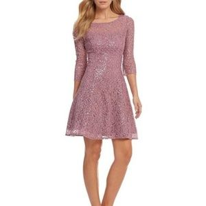 SL Fashions Sequined Lace Fit & Flare Dress NWOT